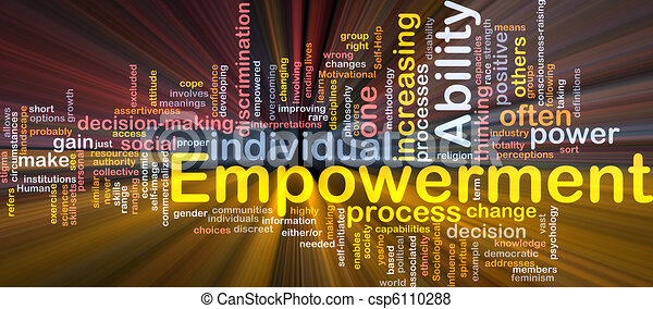 Empowerment is bone background concept glowing - csp6110288