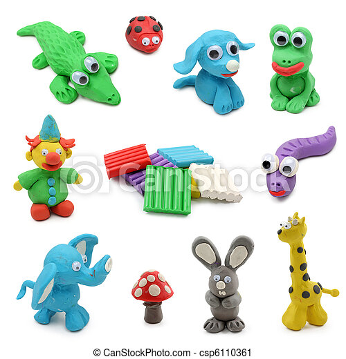 animals made from child's play clay - csp6110361