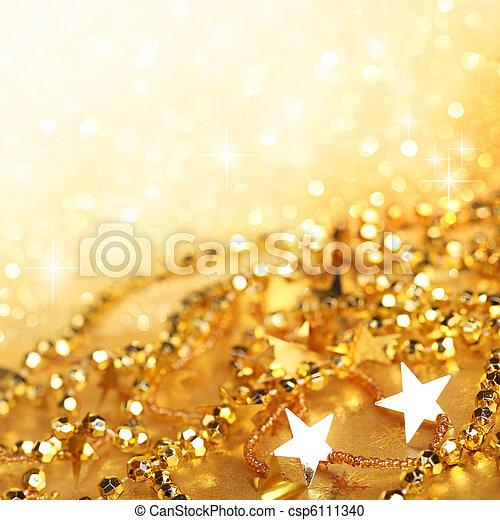 Gold abstract holiday lights - csp6111340