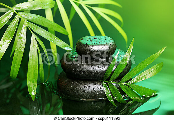 Spa still life with stone pyramid - csp6111392