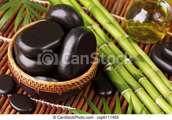 Spa still life with hot stones - csp6111455