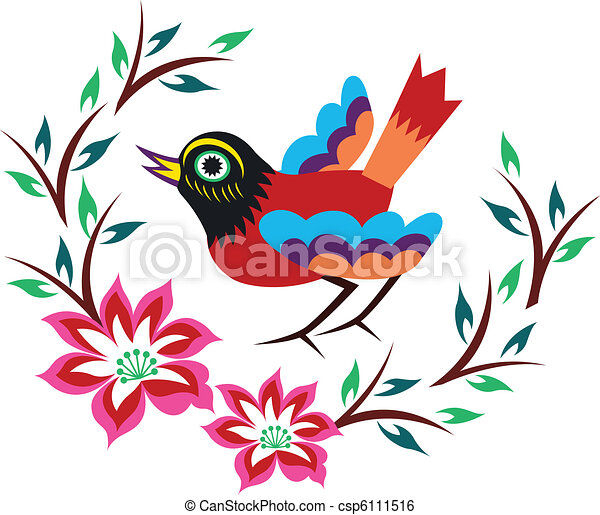 chinese oriental bird tree - csp6111516