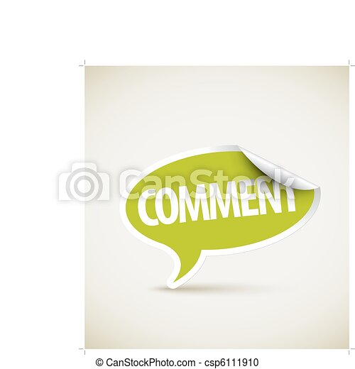 Comment - speech bubble as pointer with white border - csp6111910