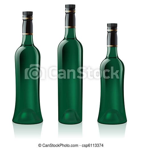 Set of green wine bottle - csp6113374