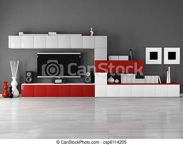 minimalist empty living room - csp6114205