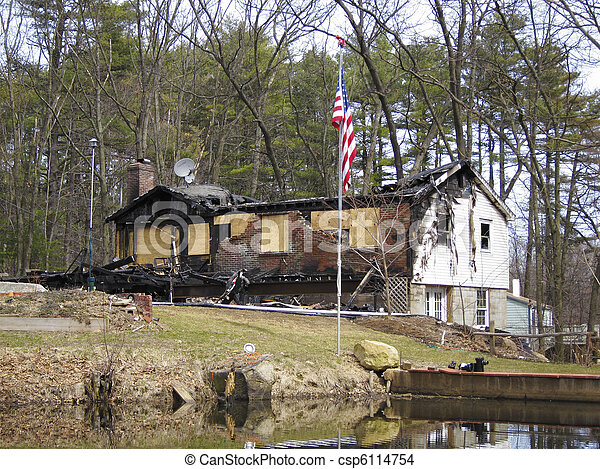 House burnt by fire - csp6114754