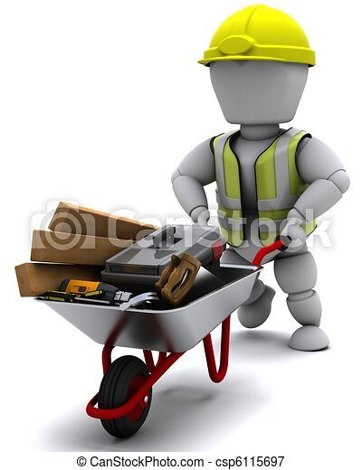 Builder with a wheel barrow carrying tools - csp6115697