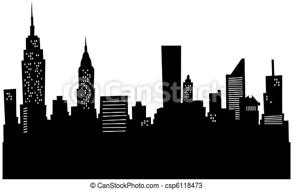 Cartoon New York Skyline - csp6118473