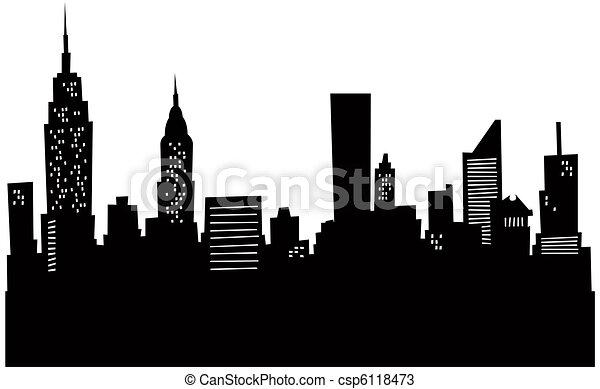 Cartoon New York Skyline - csp6118473