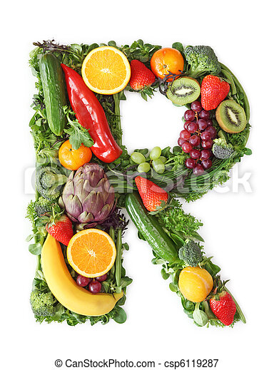 Fruit and vegetable alphabet - csp6119287
