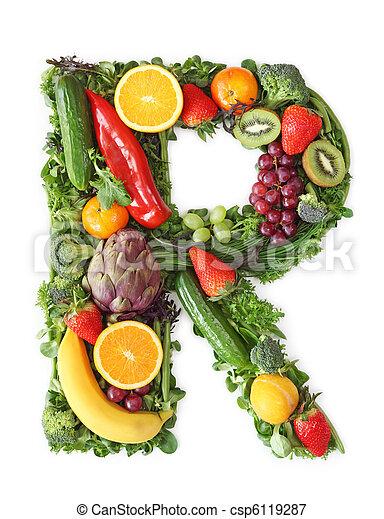 Fruit and vegetable alphabet - csp6119287