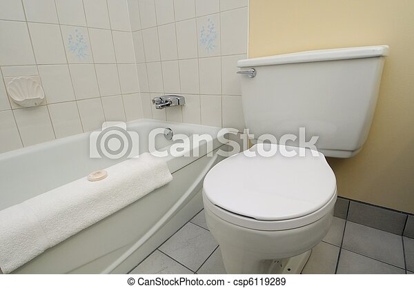 Clean white toilet and bathtub - csp6119289