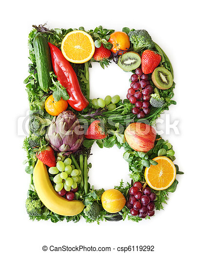 Fruit and vegetable alphabet - csp6119292