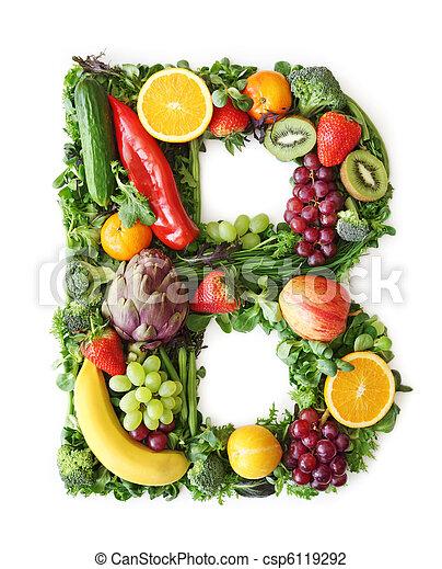 Fruit and vegetable alphabet - csp6119292