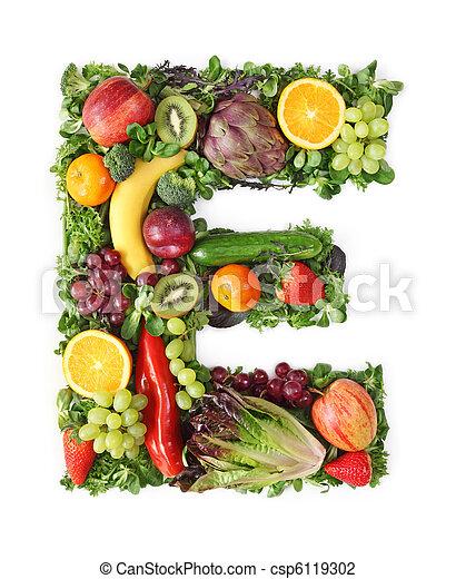 Fruit and vegetable alphabet - csp6119302