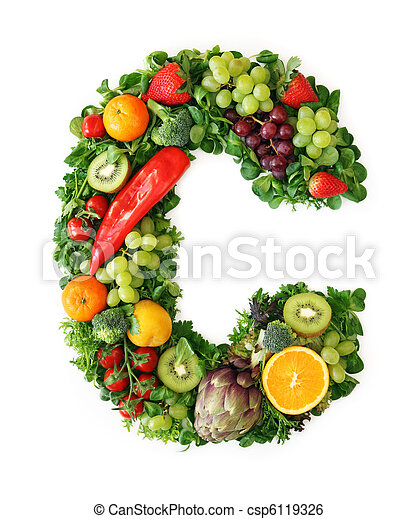 Fruit and vegetable alphabet - csp6119326