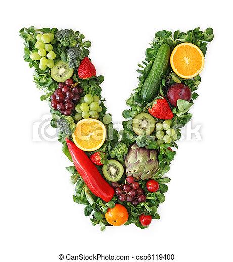 蔬菜, 字母表, 水果 - csp6119400