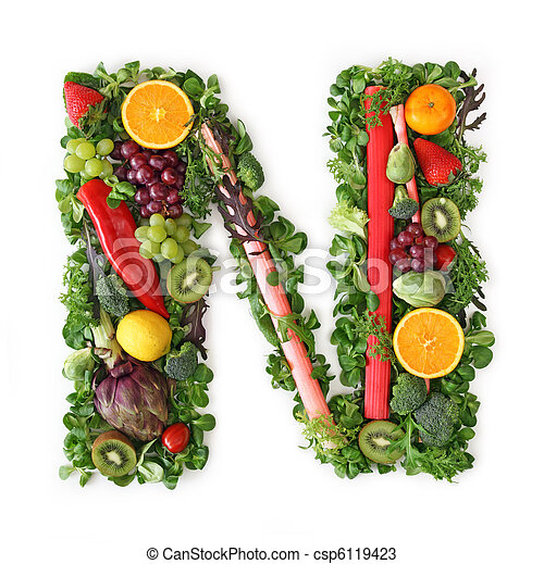 Fruit and vegetable alphabet - csp6119423