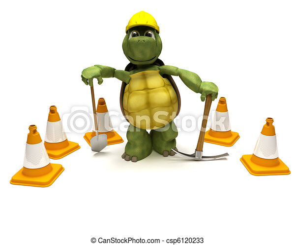 tortoise with a spade and pick axe with hazard cones - csp6120233