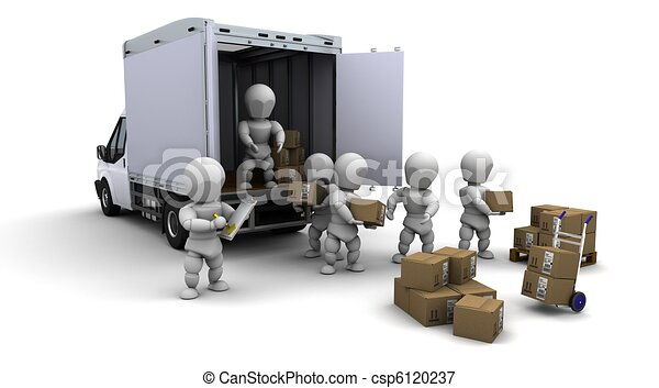 men packing boxes for shipment - csp6120237