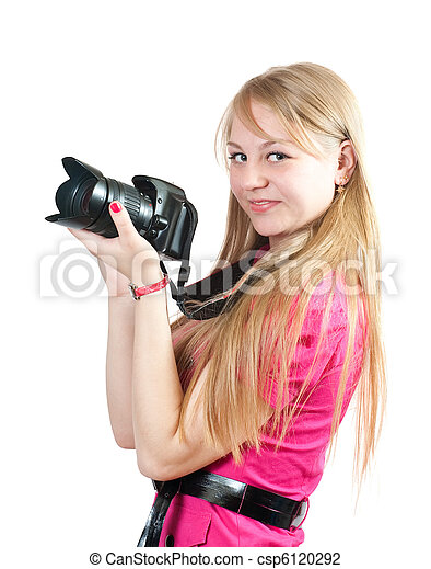 Blonde girl with camera - csp6120292
