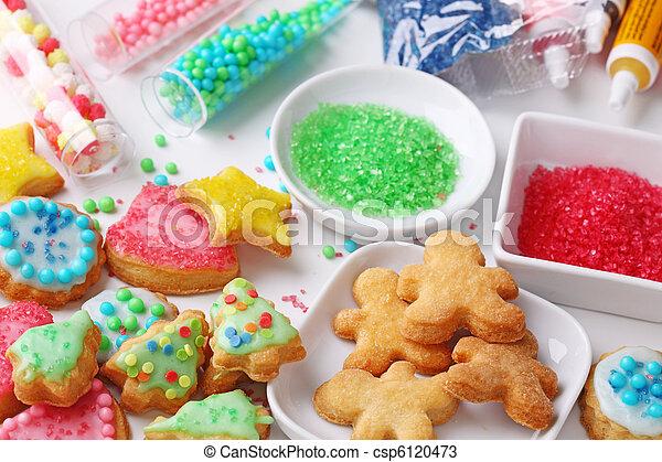 Preparing christmas cookies - csp6120473