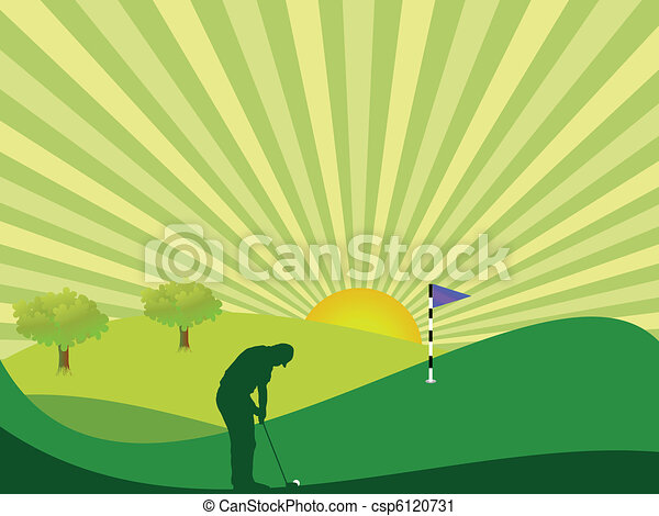 Golfer in countryside - csp6120731