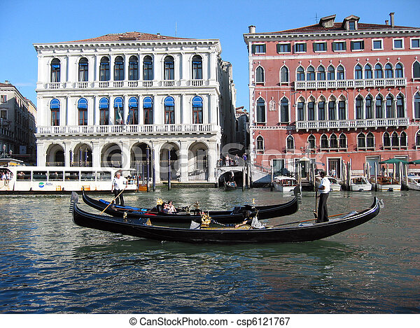 Two Venetian black gondolas - csp6121767