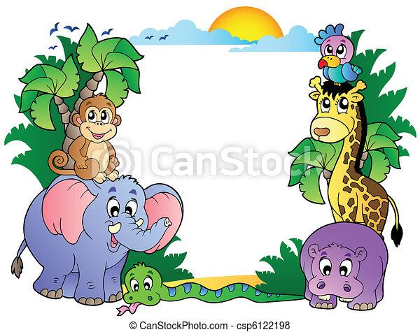 Frame with cute African animals - csp6122198