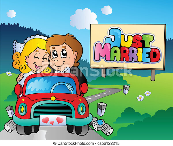 Just married couple driving car - csp6122215