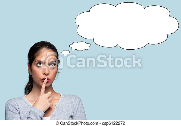 Woman thinking with thought bubbles - csp6122272