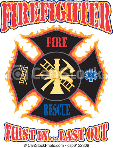 Firefighter First In Design - csp6122309