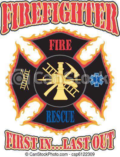 Firefighter First In Design - csp6122309