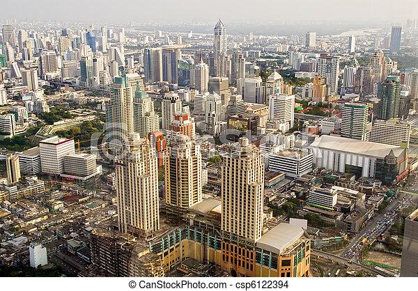 バンコク, 大都市, タイ - csp6122394 バンコク, 大都市, 航空写真, 光景,