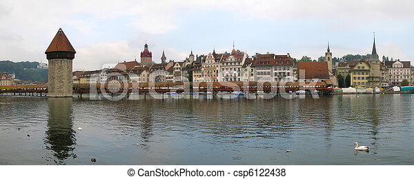 Water tower and Chapel bridge in Luzern, Switzerland - csp6122438