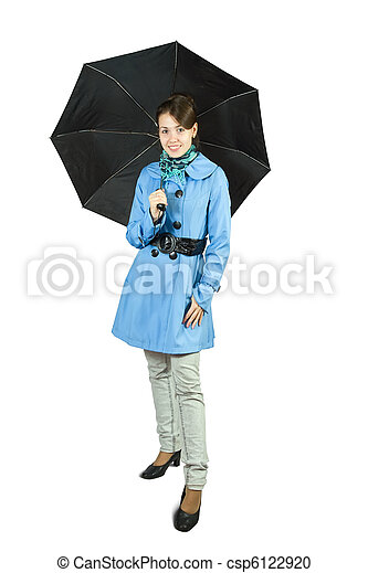 girl in cloak with umbrella - csp6122920