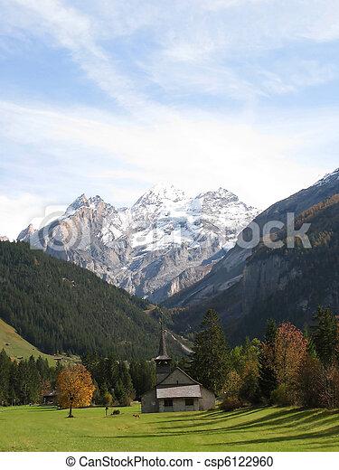 Majestic Alpine view in Kandersteg, Switzerland - csp6122960