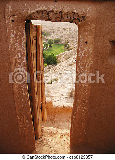View to oasis from the Diriyah fortress in Er Riyadh, Saudi Arabia - csp6123357