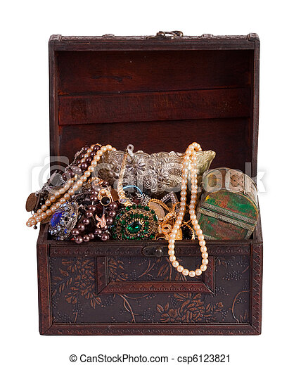 treasure chest with valuables - csp6123821