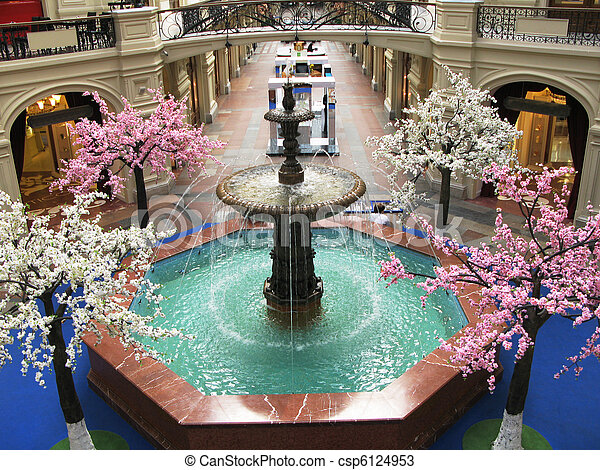 Interior of a shopping mall in Moscow - csp6124953