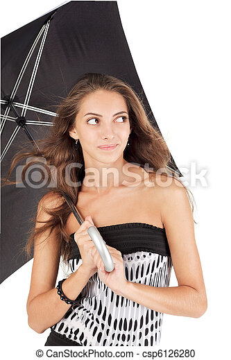 Young beautiful woman with black umbrella portrait - csp6126280