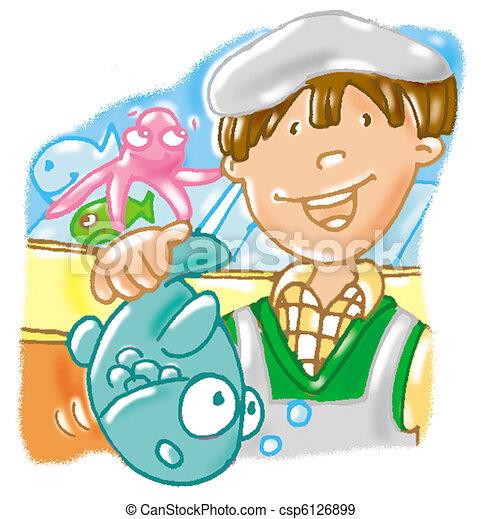 Illustration de poissonnier, fish, fish csp6126899 ...