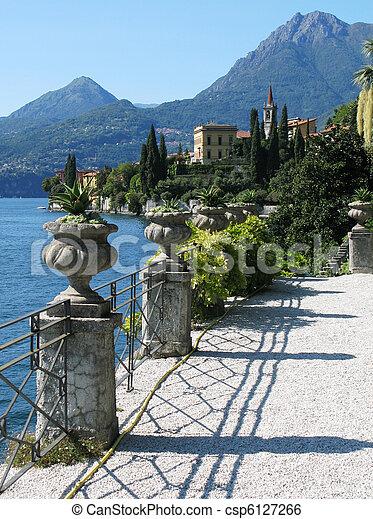 View to the lake Como from villa Monastero. Italy - csp6127266