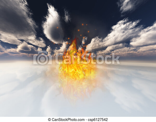 Flame contained in surreal white landscape - csp6127542
