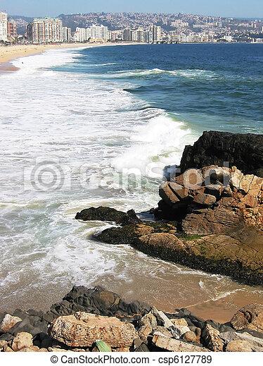Pacific shore of Vina del MAr, Chile - csp6127789