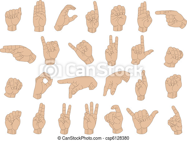 Sign Language Hands - csp6128380