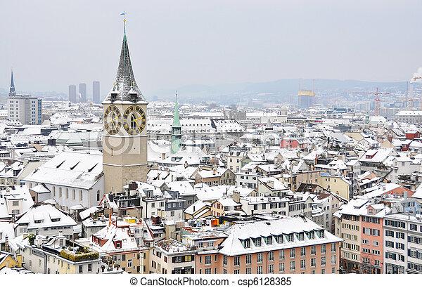Inverno, Zurique - csp6128385