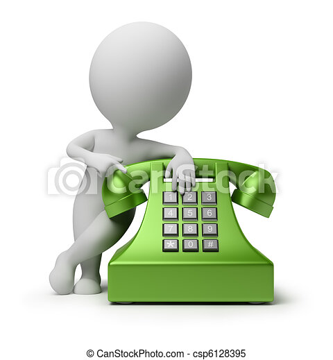 3d small people - call by telephone - csp6128395