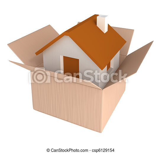 House in cardboard container - csp6129154