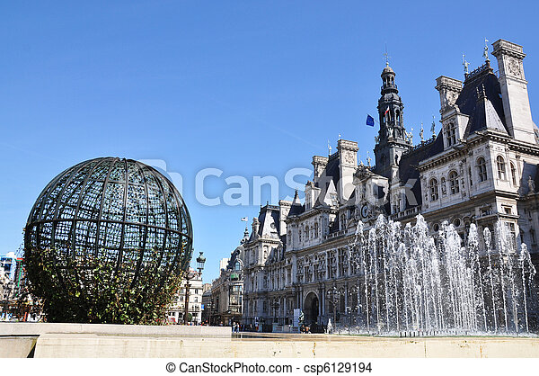 Paris City Hall (Hotel de Ville) - csp6129194